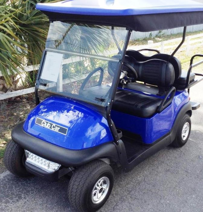 blue club car golf cart